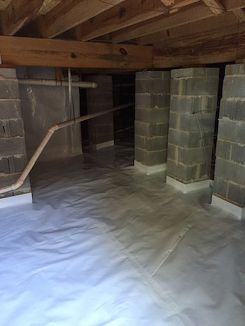crawl space in foundation after being encapsulated